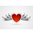 Red heart with metal wings vector image
