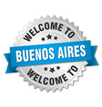 Buenos Aires 3d silver badge with blue ribbon vector image
