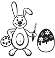 bunny with painbrush vector image