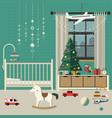 christmas baby room interior vector image
