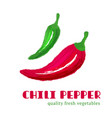 fresh chili pepper isolated on white background vector image