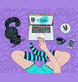 legs in socks laptop and cat chatting vector image