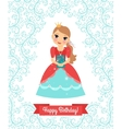 Little Princess happy birthday card vector image
