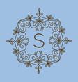 monogram s logo and text badge emblem line art vector image