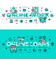 Online Works and Online Loans heading title web vector image