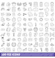 100 fee icons set outline style vector image