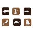 Pet shop wooden icons set with pets silhouettes vector image