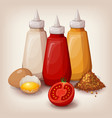 set of delicious fast food sauces vector image