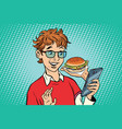 online food delivery a teenager uses a smartphone vector image