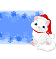 Christmas cat background vector image vector image
