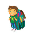 boy with big school bag stands smiling vector image