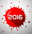 2016 Red Splash Happy New Year Splatter Symbol vector image