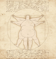 Conceptual modern Vetruvian man basis of artwork vector image