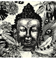 Buddha head seamless pattern black and white Hand vector image