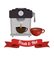 coffee maker with cup and banner graphic vector image