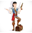 Cute pirate with pistol and chest vector image