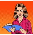 Pretty Smiling Pop Art Young Woman Reading Book vector image