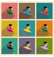 Concept of flat icons with long shadow ballet vector image