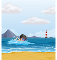 A boy swimming in the sea near the lighthouse vector image vector image