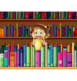A scared little girl in the library vector image vector image