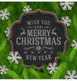 Chalkboard with christmas greeting and snowflakes vector image vector image