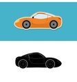 Sports car icon and silhouette vector image vector image