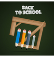 Back to school theme - rulers and pencils on dark vector image