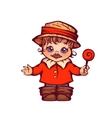 Boy in boots and hat for Festa Junina party vector image