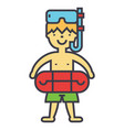 boy with swimming mask and ring in pool kids vector image