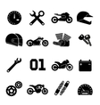 Motorbike motorcycle race and spare parts vector image