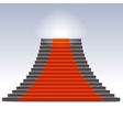 Realistic stone ladder with red carpet vector image
