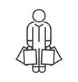 shopper man with bags linear icon sign symbol vector image