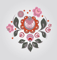 Russian Gorodets style flowers and berryes vector image