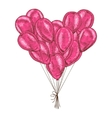 Bunch of balloons heart shaped on white background vector image