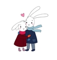 A couple of cute rabbits Funny animals vector image