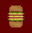 flat shading style icon pixel burger vector image