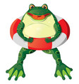 Cartoon frog with a lifebuoy vector image