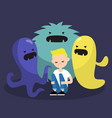 scared character surrounded by ugly monsters vector image vector image