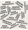 Grunge background with different pizza names vector image