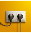 Realistic electric white double socket and two vector image