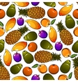 Seamless sweet and juicy fresh fruits pattern vector image