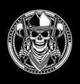 Cowboy Skull Hold Guns vector image