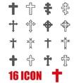 grey crosses icon set vector image