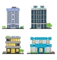 Set of modern business center with diverse vector image