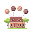 smart home flat concept design isolated on white vector image