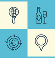 tourism icons set collection of wine currency vector image