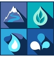 Background with water icons in flat design style vector image vector image