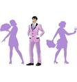 Attractive asian man with corps de ballet dancers vector image vector image