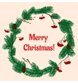 Christmas wreath with green branch and berries vector image