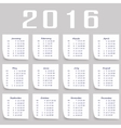 Calendar for 2016 Week Starts Monday vector image